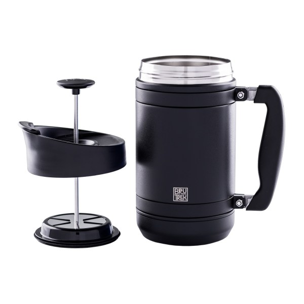 Photo of black BruTrek insulated French press with lid on the left