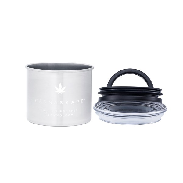 Photo of Cannascape Stainless Steel canister with inner sealing Airscape lid on the side