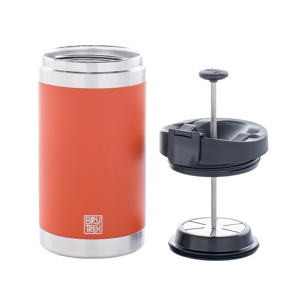 Photo of orange coffee press, it's lid removed and sitting to the right.