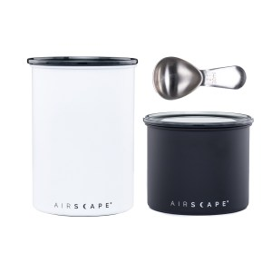 "Coffee Canister Bundle, Matte white 7"" Airscape, matte black 4"" Airscape with coffee scoop"