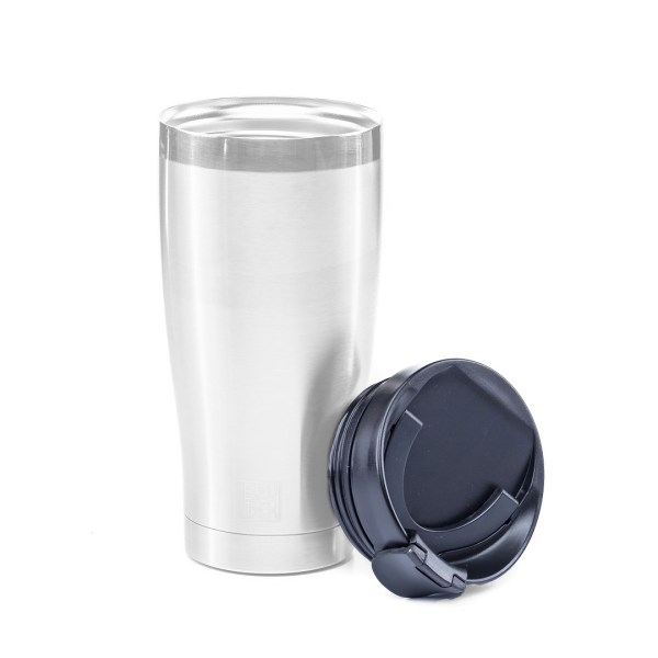 Photo of a BruTrek adventure tumbler with Sip N' Snap lid leaning on the side