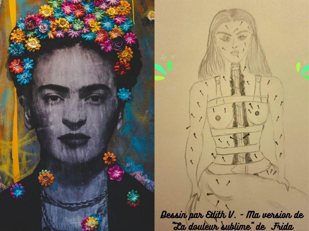 Dessin de Edith V. inspiré par autoportrait Douleur Sublime de Frida Kahlo