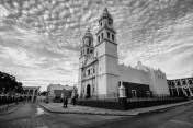Campeche cathedral in black and white