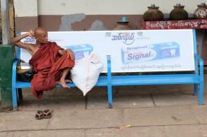 Yangon circle train monk