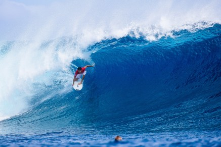 Jeremy Flores of France advanced into Round Three in Heat 8 of Round Two at the Outerknown Fiji Pro at Cloudbreak, Fiji.