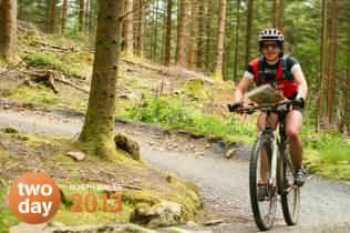 Having fun biking on one of the easier trails!