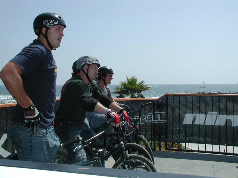 BMX Riders on Platform Ramp