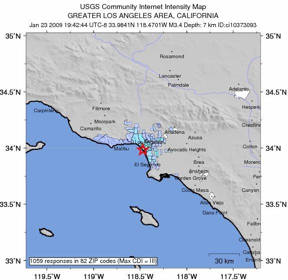 Earthquake hits Marina del Rey California January 23, 2009