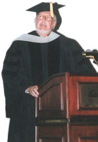 Dr. Fred Barge gives the commencement address to the Pediatric Diplomate class of 2000