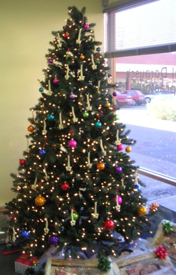 chiropractic Christmas tree with spinal ornaments