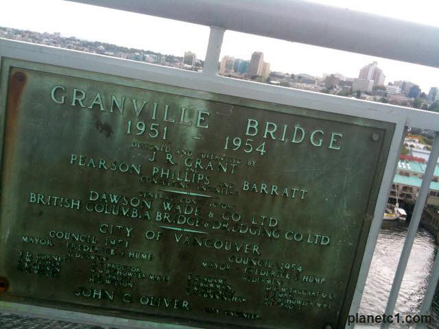 Granville Bridge Plaque Vancouver