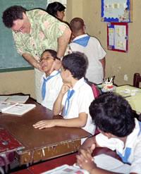 Dr. Jeff Ptak adjusting in a school in Cuba