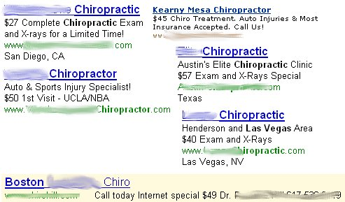 price in chiropractic advertising