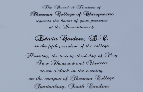 Sherman Chiropractic College Presidential Investiture