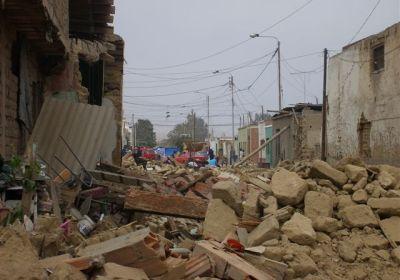 devastation in the streets of Peru
