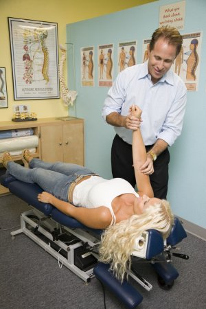 woman receiving chiropractic checkup