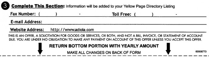 yellow pages payment