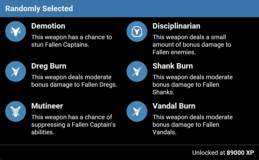 prison elders fallen weapon perks