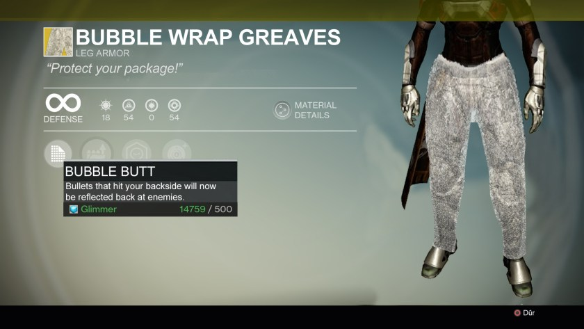 Bubble Wrap Greaves