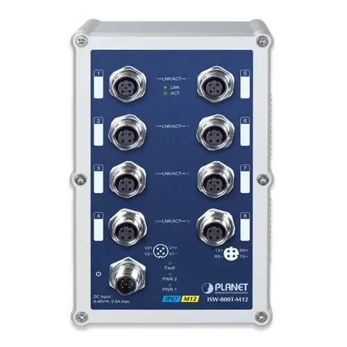 ISW-800T-M12 Industrial Switch Front 2