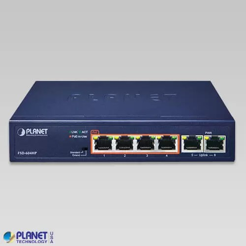 FSD-604HP PoE Switch Front
