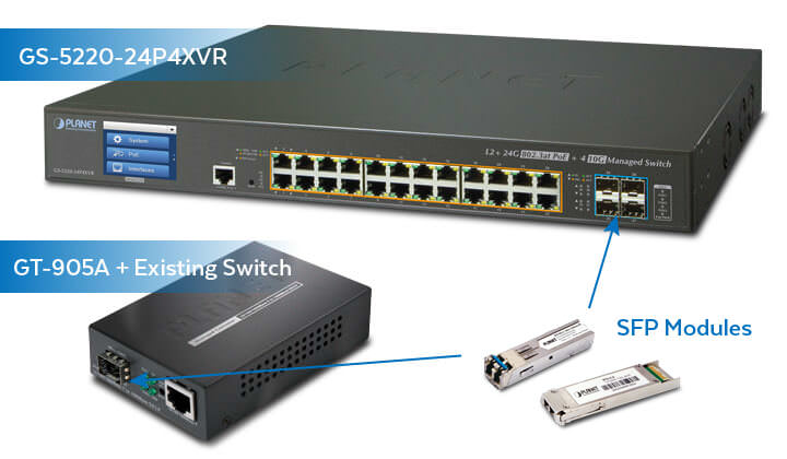 GS-5220-24P4XVR Switch & GT-905A Media Converter