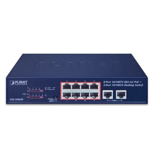 FSD-1008HP PoE Switch Front