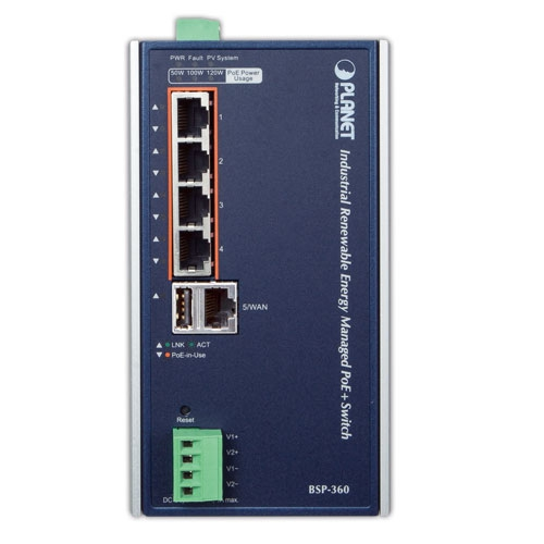 BSP-360 Industrial PoE Switch Front