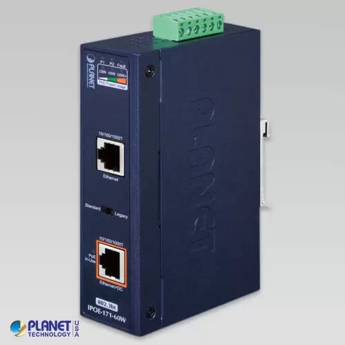 IPOE-171-60W Industrial Single-Port 10/100/1000Mbps 802.3bt PoE++ Injector (60W, -40~75°C, 48~56VDC)