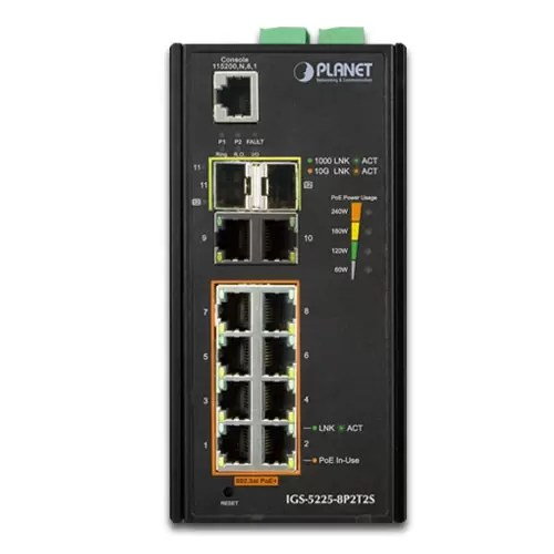 IGS-5225-8P2T2S PoE Switch Front