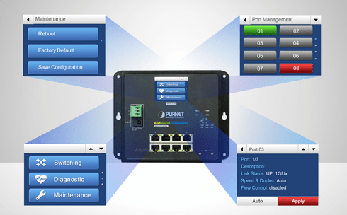 Wall-Mounted Managed Switch with LCD Screen Intuitive Control