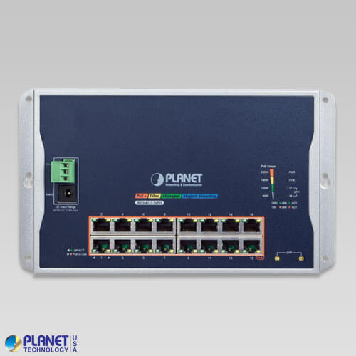 WGS-4215-16P2S Industrial Wall Mount PoE Switch Front