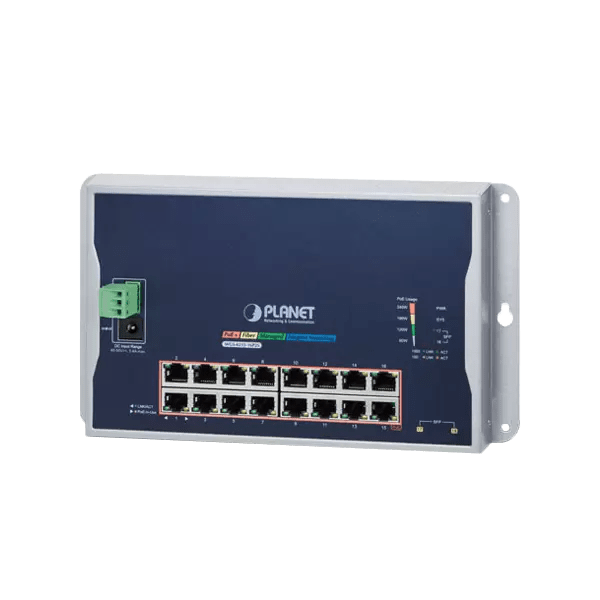 WGS-4215-16P2S Industrial 16-Port 10/100/1000T 802.3at PoE 2-Port 100/1000X SFP Wall-mounted Managed Switch