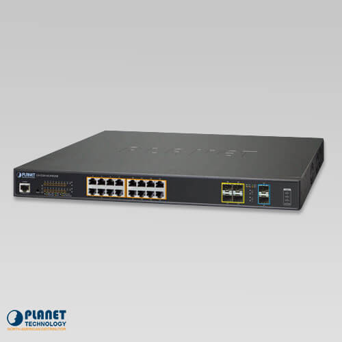 GS-5220-16UP4S2XR L2+ 16-Port 10/100/1000T Ultra PoE + 4-Port 100/1000X SFP + 2-Port 10G SFP+ Managed Switch with System Redundant Power