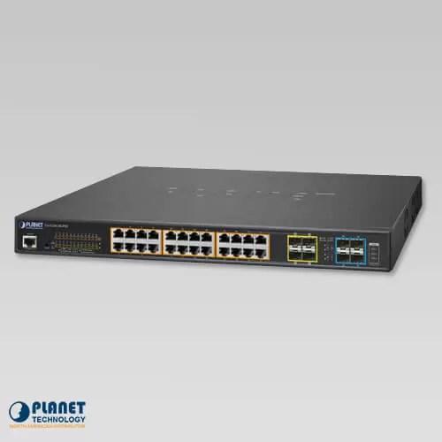 GS-5220-24UP4X L2+ 24-Port 10/100/1000T Ultra PoE + 4-Port 10G SFP+ Managed Switch (400W)