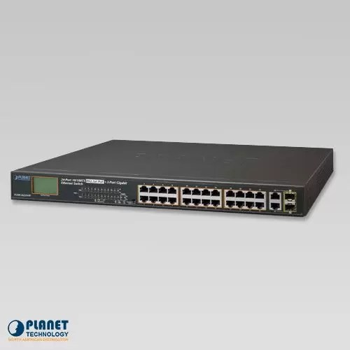FGSW-2622VHP 24-Port 10/100TX 802.3at PoE + 2-Port Gigabit TP/SFP Combo Ethernet Switch with LCD PoE Monitor (300W)