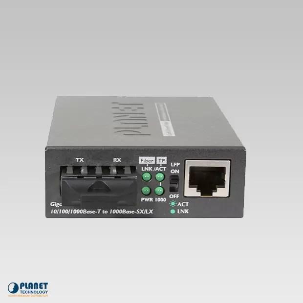 GT-802S 10/100/1000Base-T to 1000LX Gigabit Media Converter (SM, SC, 10km)