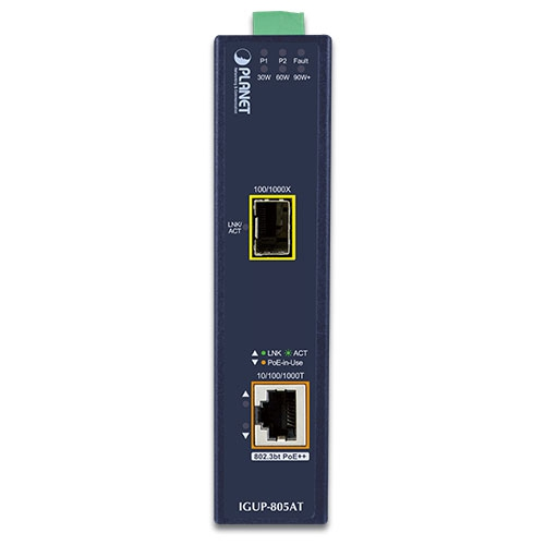IGUP-805AT PoE Media Converter Front