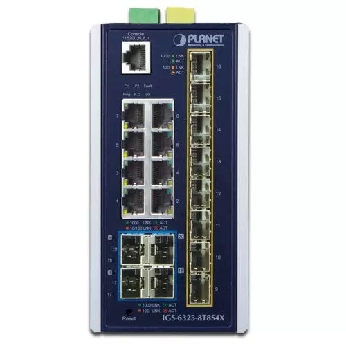 IGS-6325-8T8S4X Industrial PoE Switch Front
