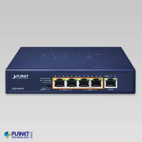 GSD-504UP PoE Switch Front
