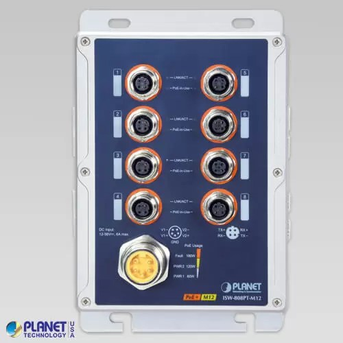 ISW-808PT-M12 Industrial PoE Switch Front