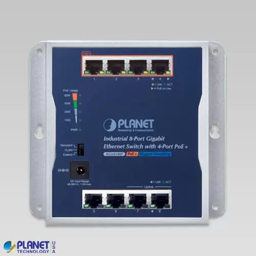 WGS-814HP Industrial Wall-Mount PoE Switch Front