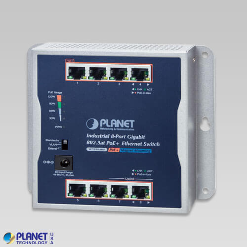 WGS-818HP Industrial Wall Mount PoE Switch
