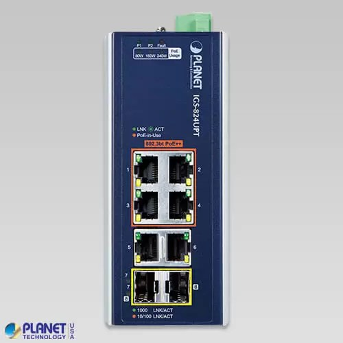 IGS-824UPT Industrial PoE Switch Front