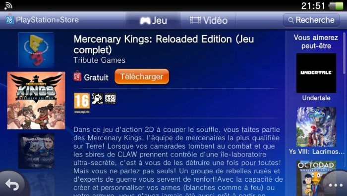 Mercenary Kings Playstation Store PS Vita