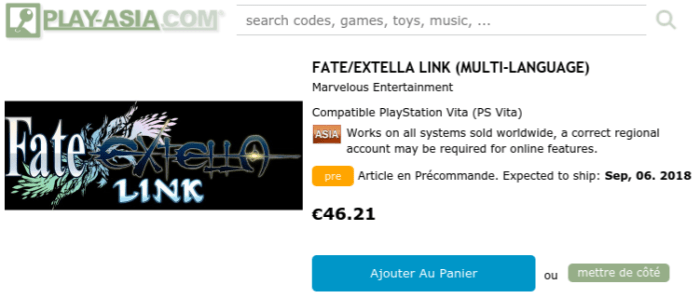 FATE/EXTELLA Link Asia version + anglais PS VIta