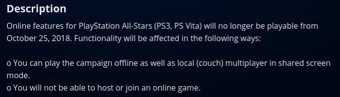 Fermeture serveurs en ligne PlayStation All-Stars Battle Royale