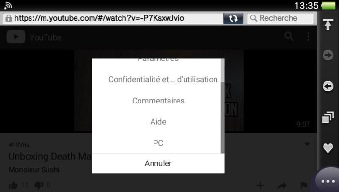 YouTube sur PS Vita : la solution