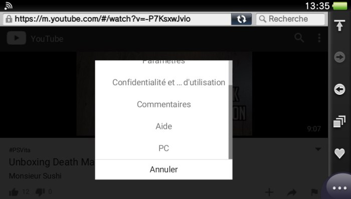YouTube sur PS Vita : la solution