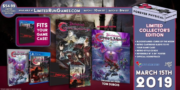 Image d'annonce du collector de Bloodstained Curse of the Moon par Limited Run Games